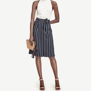 Ann Taylor Blue Striped High Waist Belted Skirt 10